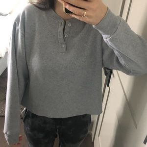 Brandy Melville Grey Henley Sweatshirt